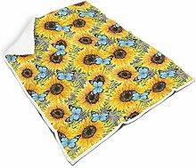 STELULI Blanket Sunflower and Blue Butterfly