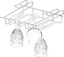 Stemware Rack, Bar Glass Holder for 12 Pieces, Bar, Kitchen, Pub, Iron Support, 8,5 x 34.5 x 26 cm, Silver - Relaxdays