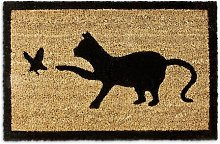Sternberg Cat Catching Bird Doormat Mercury Row