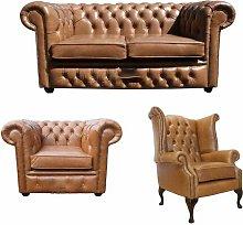 Stewartsville Chesterfield 3 Piece Leather Sofa