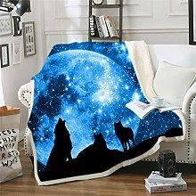 Sticker superb Blue Purple Galaxy Star Wolf 3D