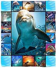 Stillshine. Flannel Blanket Ocean Animal Dolphin