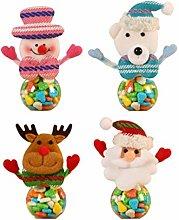 STOBOK 4pcs Christmas Candy Jar Santa Snowman Bear