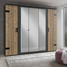 Stockholm Mirrored Wardrobe In Silver Fir And
