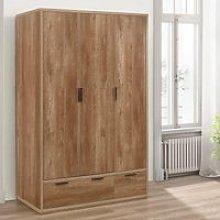 Stockwell Rustic Oak Wooden 3 Door Combination
