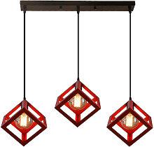 Stoex - Geometric Cube Pendant Light Red Square