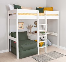 Stompa High Sleeper Bed Frame, Desk & Khaki