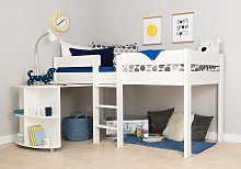 Stompa Mid Sleeper Bed, Desk and Mattress - White