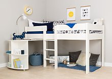 Stompa Mid Sleeper Bed Frame and Desk - White