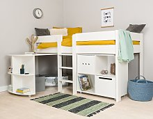 Stompa Mid Sleeper Bed Frame, Desk and Cube Unit -