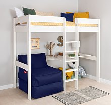 Stompa White High Sleeper Bed, Desk, Navy