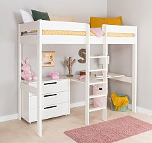 Stompa White High Sleeper Bed Frame, Desk & Chest