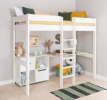 Stompa White High Sleeper Bed Frame, Desk & Cube