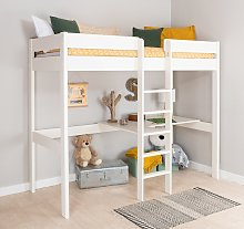 Stompa White High Sleeper Bed Frame, Desk &