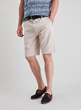 Stone Belted Chambray Linen-Rich Shorts - 38