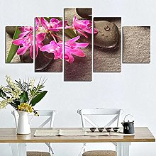 Stone Red Orchid5 Panel Wall Art Paintings On