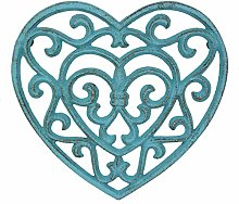 Stonebriar Rustic Turquoise Heart Shaped Cast Iron