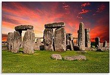 Stonehenge Landmark Abstract Sunset Canvas Wall