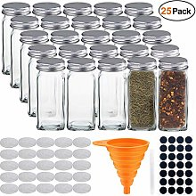 STONEKAE 25 Glass Spice Jars- Square Glass