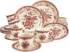 Stoneware Victorian 30 Piece Dinnerware Set,