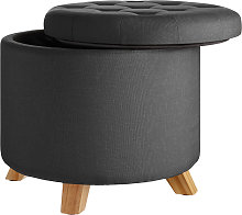 Stool Suna in linen look with storage space -