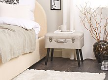 Stool with Storage Beige Faux Leather Upholstered