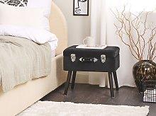 Stool with Storage Black Velvet Upholstered Black