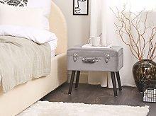 Stool with Storage Grey Velvet Upholstered Black