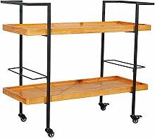 Storage Bar Cart Kitchen Entertainment Solid Wood