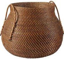 Storage basket in brown plant fibre