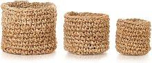 Storage Basket Set 3 Pieces Braided Jute Natural -