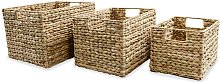 Storage Basket Set 3 Pieces Water Hyacinth - Brown