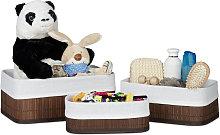 Storage Basket Set of 3, Fabric Lining, Bamboo,