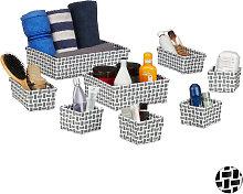 Storage Basket Set of 8, Wicker Look, Organiser