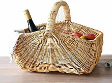 Storage Basket Vintage Wicker/Rattan Circular Shop