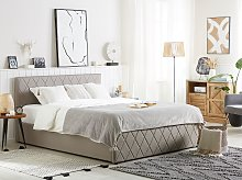 Storage Bed Taupe PU Leather Upholstery EU King