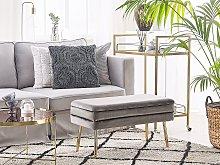 Storage Bedroom Bench Grey Velvet Fabric