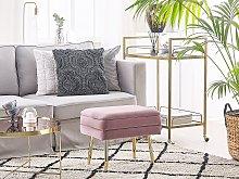 Storage Bench Pink Velvet Upholstery Golden Iron