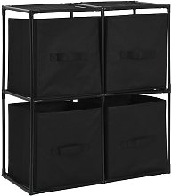 Storage Cabinet with 4 Fabric Baskets Black