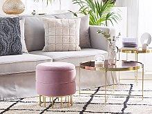 Storage Pouffe Pink Polyester Velvet Upholstery