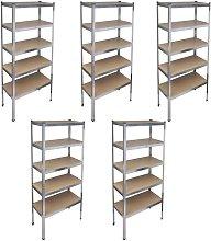 Storage Rack Garage Storage Shelf 5pcs - Brown