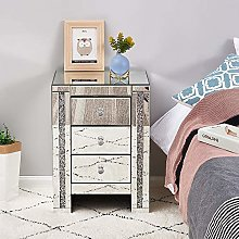 Storeinuk Mirrored Bedside Table cabinet 3 Drawers
