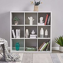 Storeinuk Wooden Bookcase 3 Tier 9 Cube Bookshelf