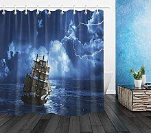 Storm night ocean sailing High-definition printed