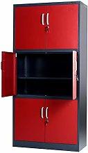Stratford Red Metal Cabinet 6 Door Cupboard 6