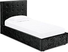 Stratford Single Storage Bed In Black Crushed
