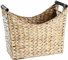 Straw Magazine Basket with Wooden Handle
