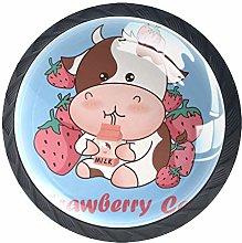 Strawberries and Cows Drinking Milk Cabinet Door
