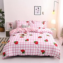 Strawberry Duvet Cover Set Double Girls Pink