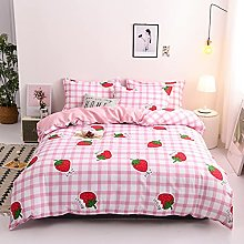 Strawberry Duvet Cover Set Single Size Girls Pink
